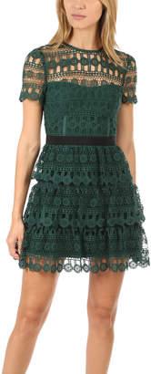 Self-Portrait Tiered Guipure Mini Dress
