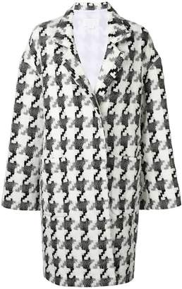 Genny houndstooth knit coat