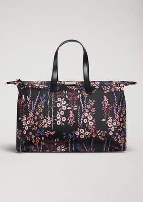 Emporio Armani Tote Bag In Floral Technical Fabric