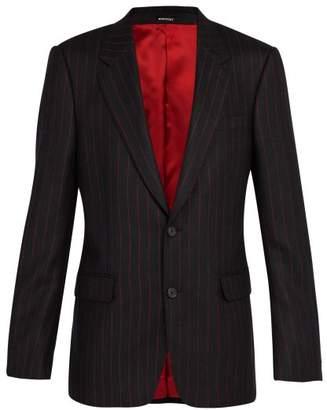 Alexander McQueen Single Breasted Wool Pinstripe Blazer - Mens - Black