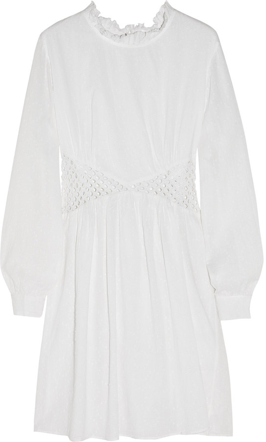 Nevenka Lattice-detailed textured-cotton dress
