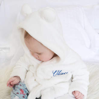 e3558657 Fleece Baby DCaro Personalised White Robe With Ears