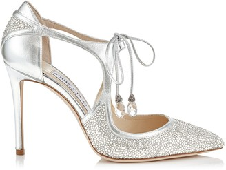Jimmy Choo VANESSA 100 Silver Metallic Nappa Leather and Crystal Pointy Toe Pumps