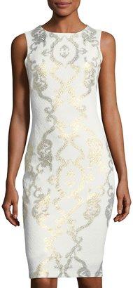 JAX Cap-Sleeve Scroll-Print Midi Sheath Dress $119 thestylecure.com