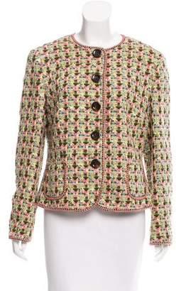 Rena Lange Collarless Tweed Jacket
