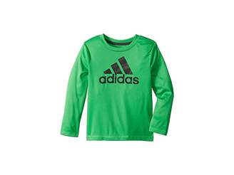 adidas Kids Long Sleeve Camo Logo Tee (Toddler/Little Kids)