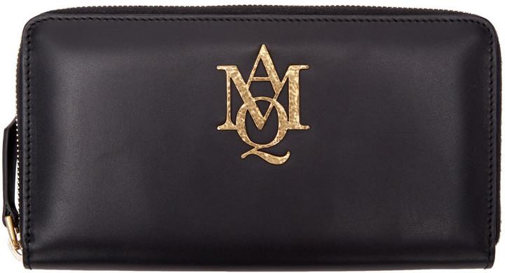 Alexander McQueenAlexander McQueen Black Insignia Zip Around Wallet