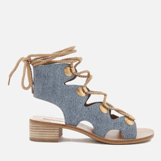 See by Chloe Women's Denim Lace Up Sandals - Denim