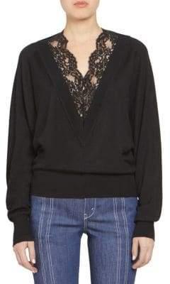 Chloé Wool Silk Long Sleeve Lace V-Neck Sweater