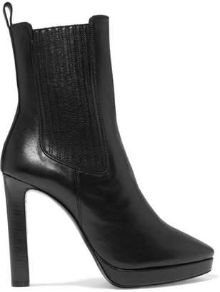Saint Laurent Hall Leather Platform Ankle Boots - Black