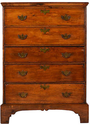 One Kings Lane Vintage Antique English Pine Wood Highboy Chest - Castle Antiques & Design