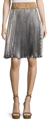 3.1 Phillip Lim Sunburst Pleated Skirt w/ Contrast Waist, Platinum $650 thestylecure.com