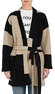 The Elder Statesman WOMEN'S COLORBLOCKED CASHMERE CARDIGAN-BLACK SIZE XS/S