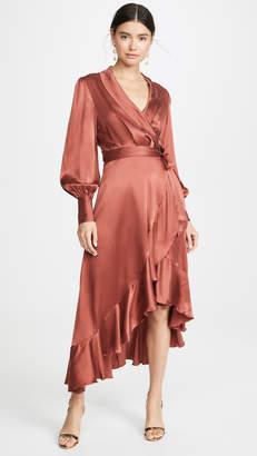Zimmermann Espionage Silk Wrap Midi Dress