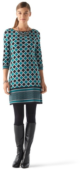 White House Black Market Lattice Border Print Dress