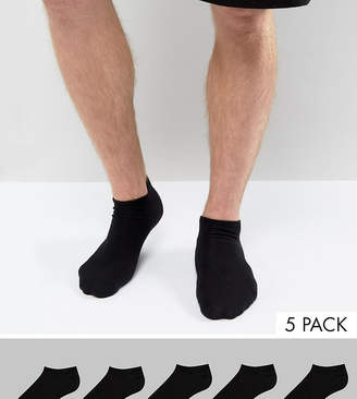 Asos DESIGN sneaker socks in black 5 pack