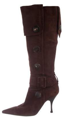 Sergio Rossi Button Suede Knee-high Boots