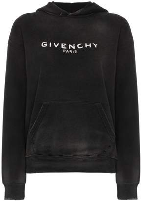 Givenchy logo printed distressed hoodie