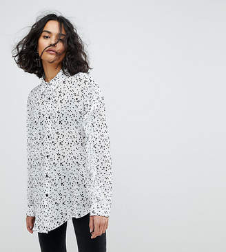 Reclaimed Vintage Inspired Ruffle Sleeve Shirt In Star Print