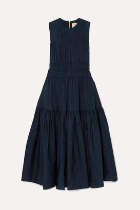 Roksanda Isilda Gathered Cotton-poplin Midi Dress - Navy