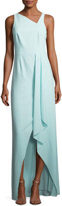 Halston Sleeveless Asymmetric-Neck Evening Gown w/ Flowy Drape