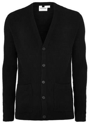 Topman Mens Black Textured Cardigan