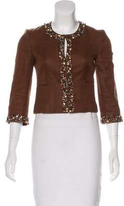 BCBGMAXAZRIA Linen Embellished Jacket