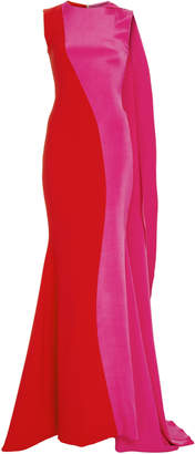 Christian Siriano Color Blocked Side Drape Gown