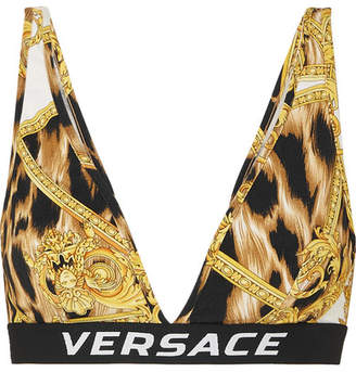 Versace Printed Stretch-jersey Soft-cup Triangle Bra