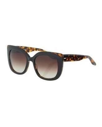 Barton Perreira Olina Chunky Cat-Eye Sunglasses, Black Tortoise/Smoky Topaz