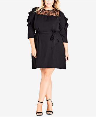 City Chic Trendy Plus Size Lace-Yoke Belted Dress
