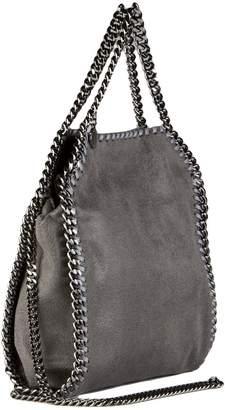 Stella McCartney Mini Three Chain Grey Shaggy Faux Deer Bag