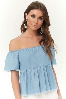 Forever 21 Off-the-Shoulder Chambray Top