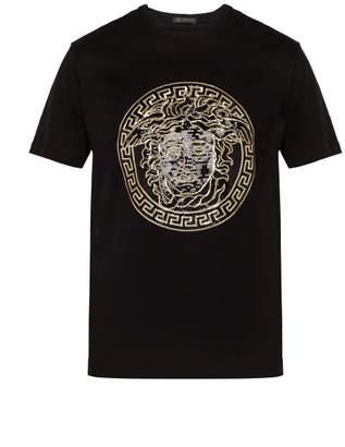 Versace Medusa Head Sequinned Motif T Shirt - Mens - Black