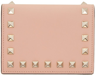 Valentino Pink Small Rockstud French Flap Wallet $425 thestylecure.com
