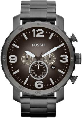 Fossil Mens Nate Stainless Steel Smoke Watch