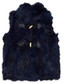Adrienne Landau Little Girl's& Girl's Rabbit Fur Vest