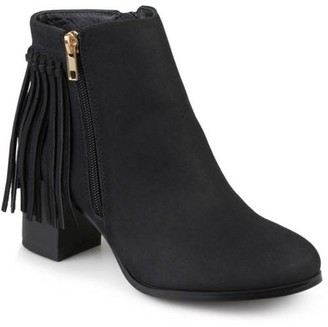 Brinley Co. Women's Faux Leather Stacked Heel Fringe Ankle Boots