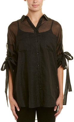 Sheer Black Button Up Blouse Shopstyle