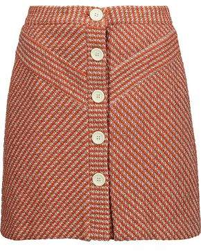 Maje Cotton-Blend Bouclé-Tweed Mini Skirt