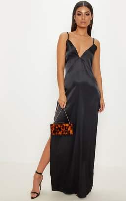 PrettyLittleThing Black Strappy Plunge Satin Slip Maxi Dress