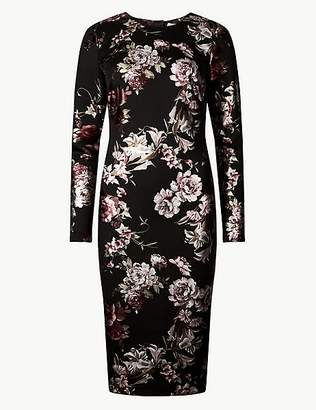 Marks and Spencer Floral Print Long Sleeve Bodycon Dress