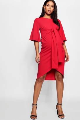 boohoo Maternity Kimono Wrap Over Midi Dress