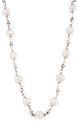 Made In Italy Sterling Silver Pearl Beaded Necklace