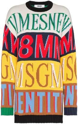 MSGM logo print crew neck long sleeve sweater