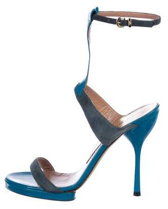 Emporio Armani Patent Leather Platform Sandals