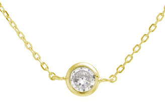 SILVER TREASURES Silver Treasures Bezel Set Choker Womens Cubic Zirconia 24K Gold Over Silver Necklace