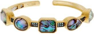 Judith Ripka Sterling Abalone Doublet & Blue Topaz Cuff Bracelet