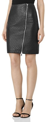 REISS Azure Quilted Leather Skirt $545 thestylecure.com