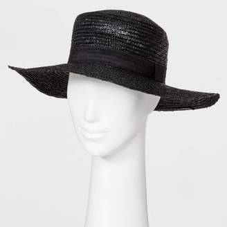 Universal Thread Women's Natural Straw Boater Hat Black
